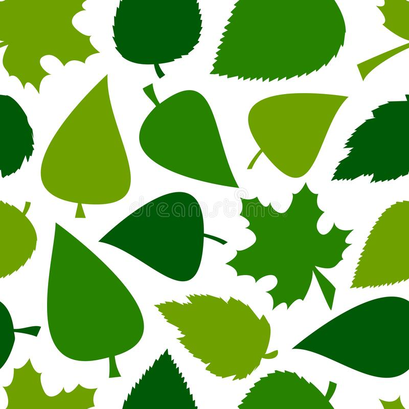 Green seamless pattern with different leaves. Vector illustration stock illustration