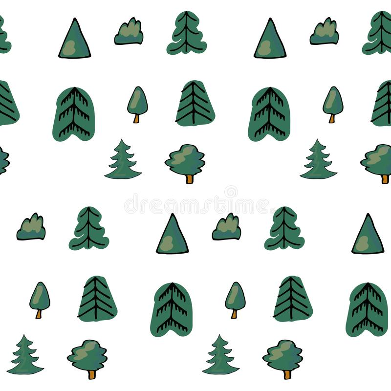 Green seamless pattern of different trees and bushes. Vector forest illustration on white background. Simple cartoon stock images