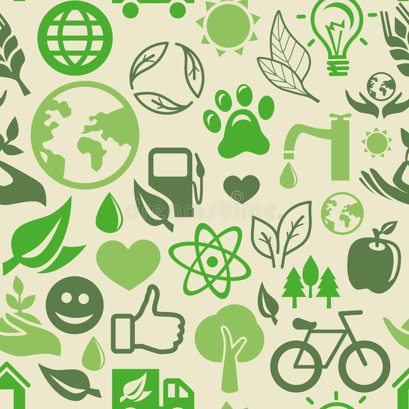 Green seamless pattern with ecology signs stock illustration
