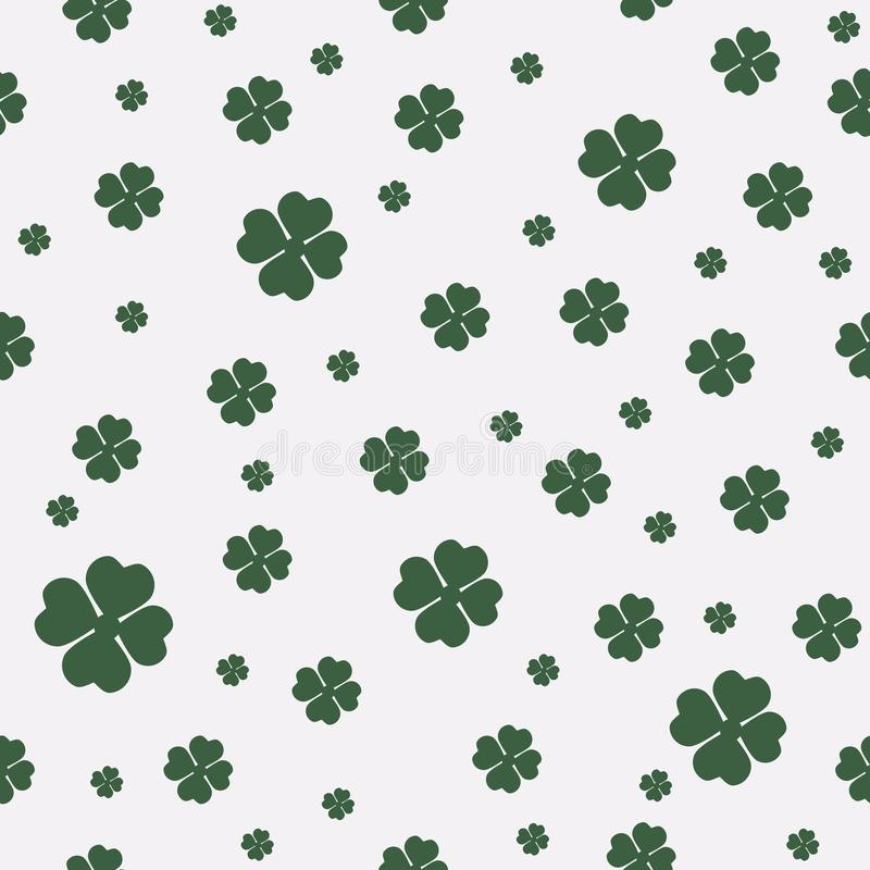 Green seamless pattern with four and tree leaf clovers for Saint Patrick`s Day. royalty free illustration