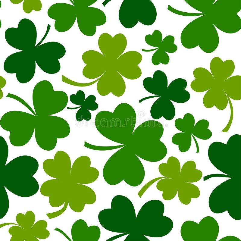 Green seamless pattern with leaf clovers for Saint Patrick`s Day. Vector illustration vector illustration