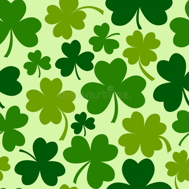 Green seamless pattern with eaf clovers for Saint Patrick`s Day. Vector illustration stock illustration