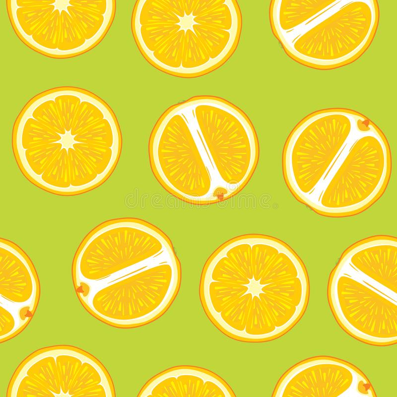Green seamless pattern with juicy orange slices royalty free stock image