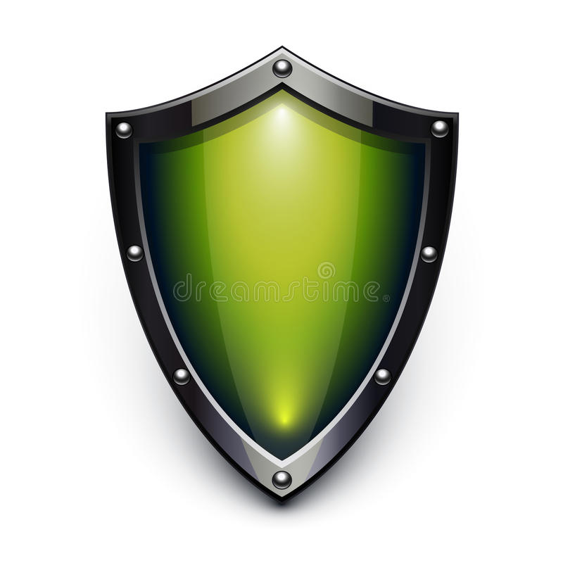 Green security shield royalty free illustration