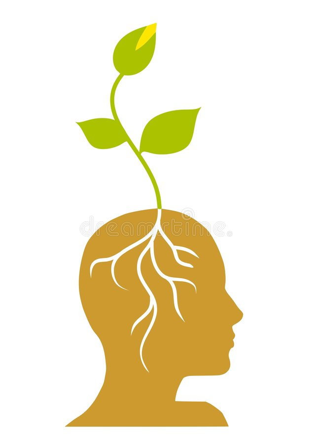 Green Seedling With Roots In Head vector illustration