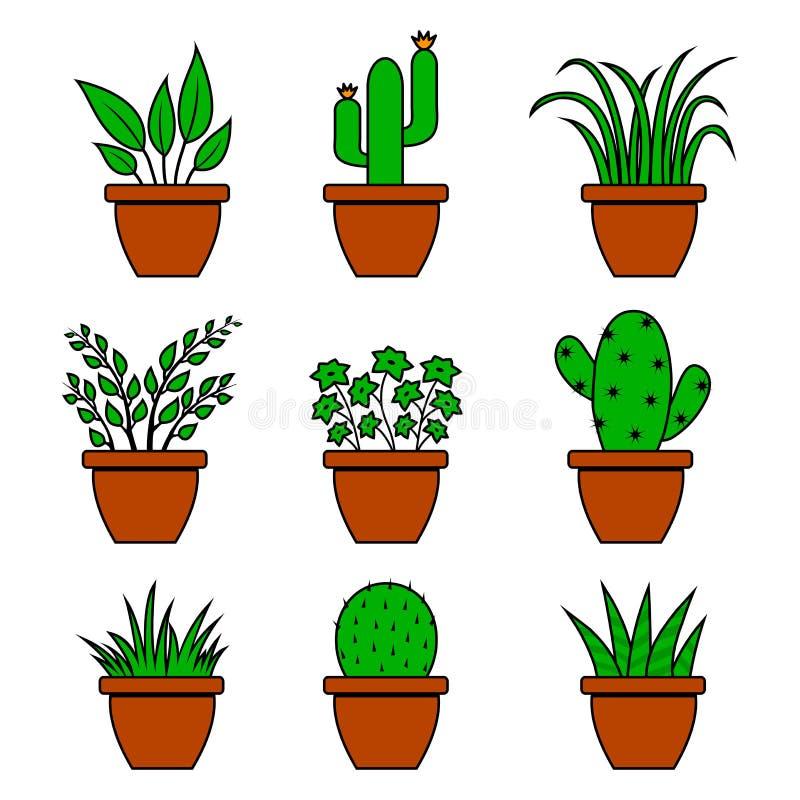 Green set of houseplants in pots, indoor flowers. Vector. Illustration royalty free illustration
