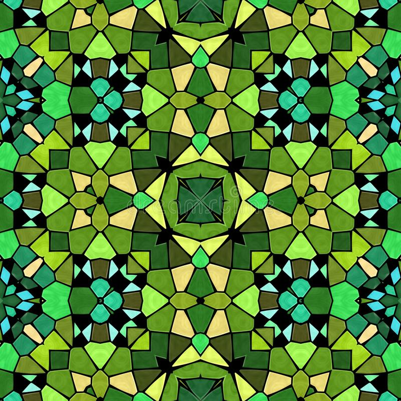 Green shadow kaleidoscope, seamless texture. With green ornaments royalty free illustration