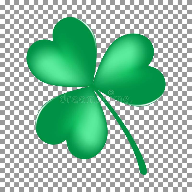 Green Shamrock leave icon isolated on transparent background. Happy patricks flat pictogram, irish. Symbol. Vector illustration royalty free illustration