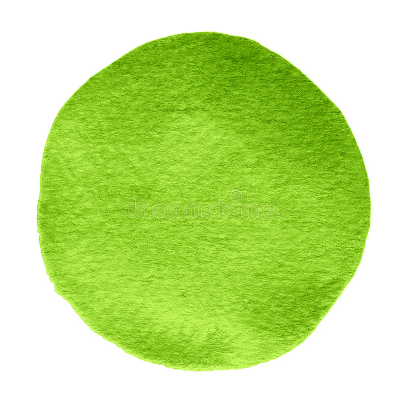 Green, shamrock watercolor circle. Watercolour stain on white background. royalty free stock image