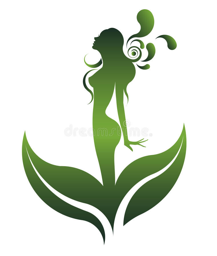 Green shape of beautiful woman icon cosmetic and spa, logo women on white background, royalty free illustration