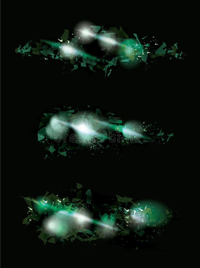 Green shattered effect designs. Green shatter effect collection with shinning light vector illustration