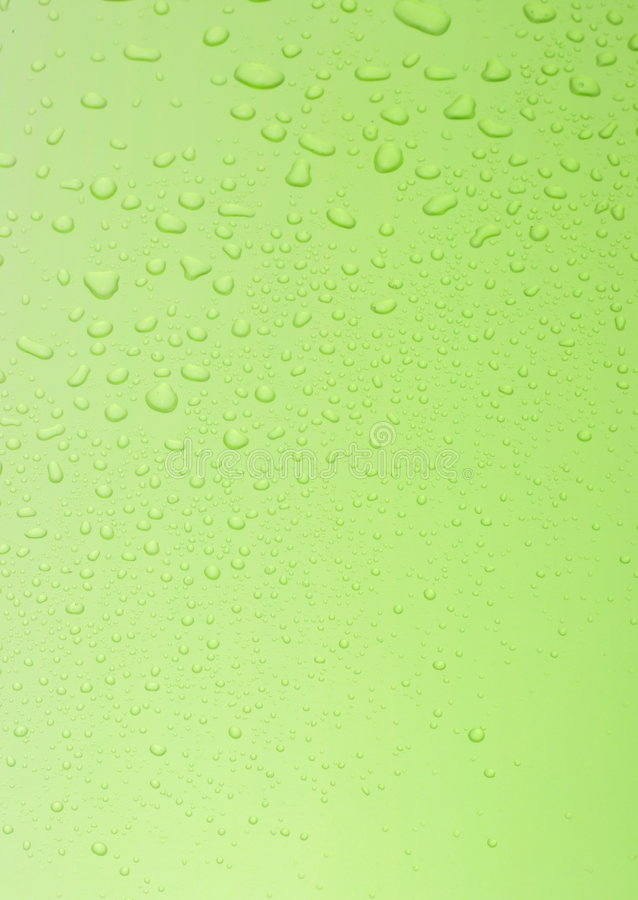 Green sheet with water drops