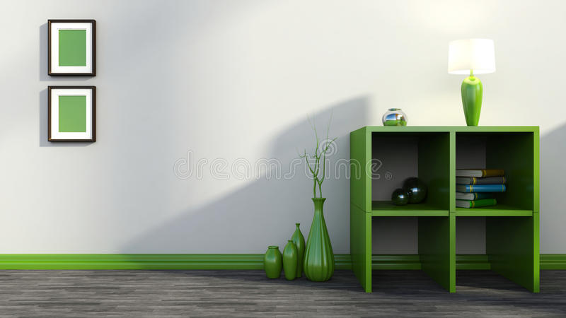 Green shelf with vases, books and lamp.  royalty free illustration