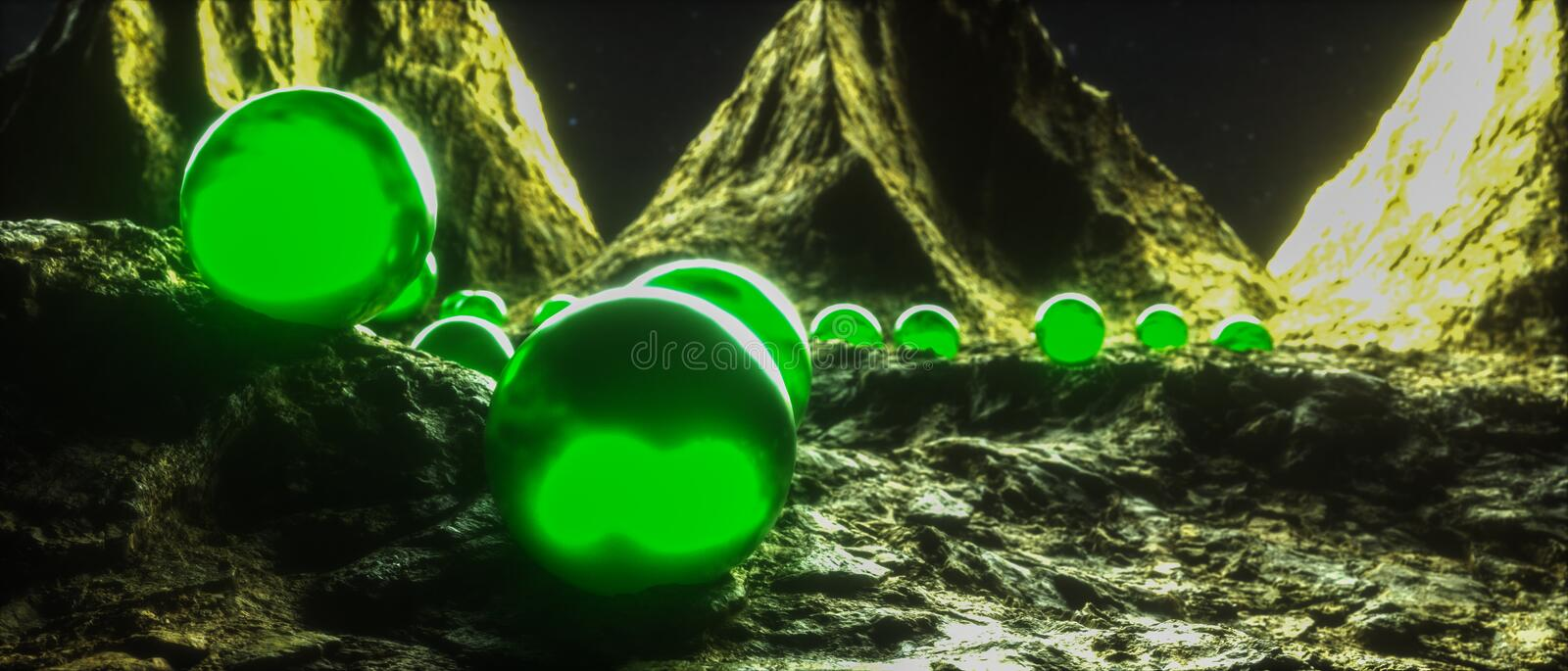 Green shining balls on an alien planet 3d rendering vector illustration