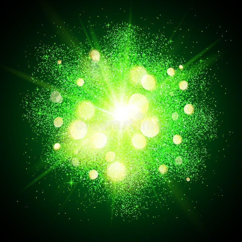 Green shining fireworks explosion at black stock illustration