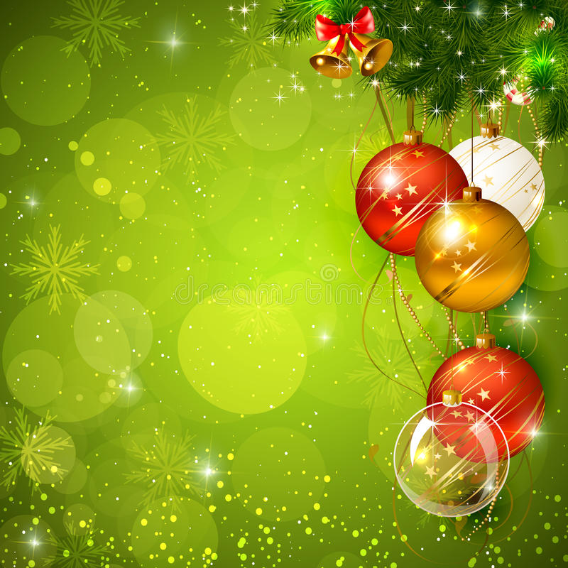 Green shiny christmas background with bauble stock photo