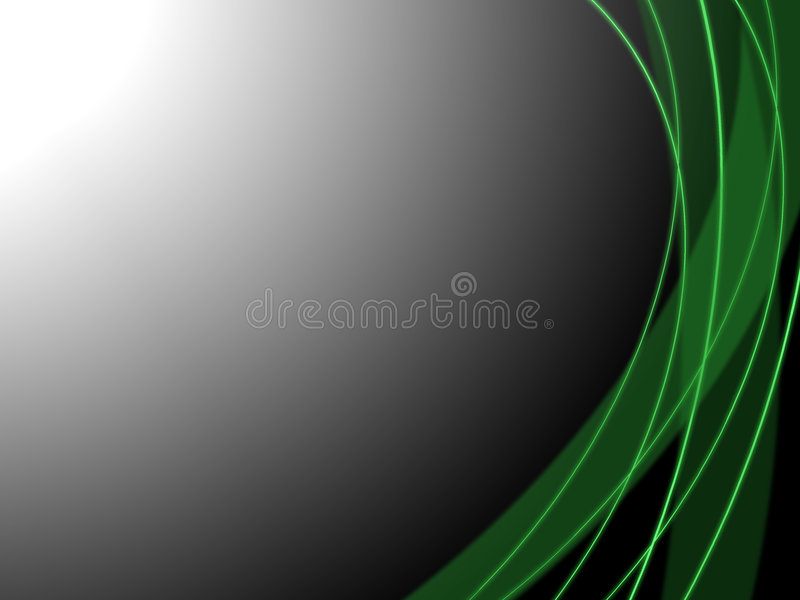 Green shiny lines. On grey background stock illustration