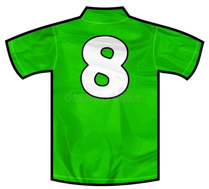 Green shirt eight. Number 8 eight green sport shirt as a soccer,hockey,basket,rugby, baseball, volley or football team t-shirt. Like Ireland or Mexico national vector illustration