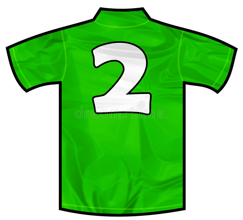 Green shirt two. Number 2 two green sport shirt as a soccer,hockey,basket,rugby, baseball, volley or football team t-shirt. Like Ireland or Mexico national team stock illustration