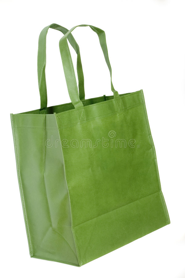 Green shopping bag. Isolated on white background royalty free stock photo