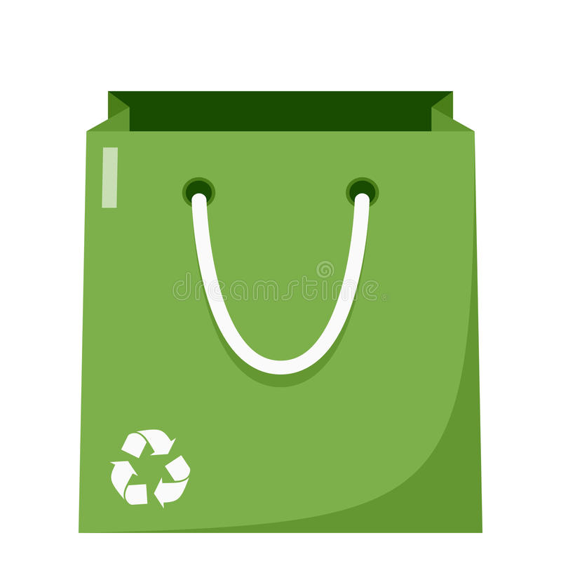 Green Shopping Bag Flat Icon on White. Empty green shopping bag flat icon with recycle symbol, isolated on white background. Eps file available stock illustration
