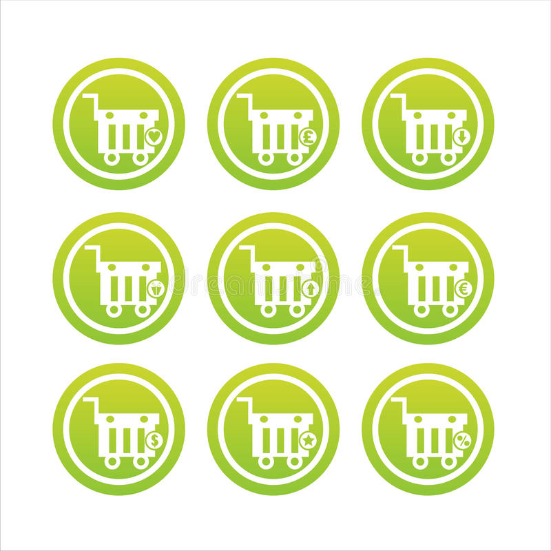Download Green Shopping Baskets Signs Stock Vector - Illustration of modern, design: 20458565