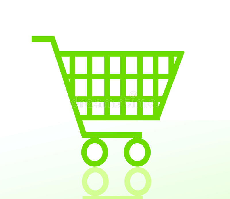 Green shopping cart. Isolated on white background vector illustration