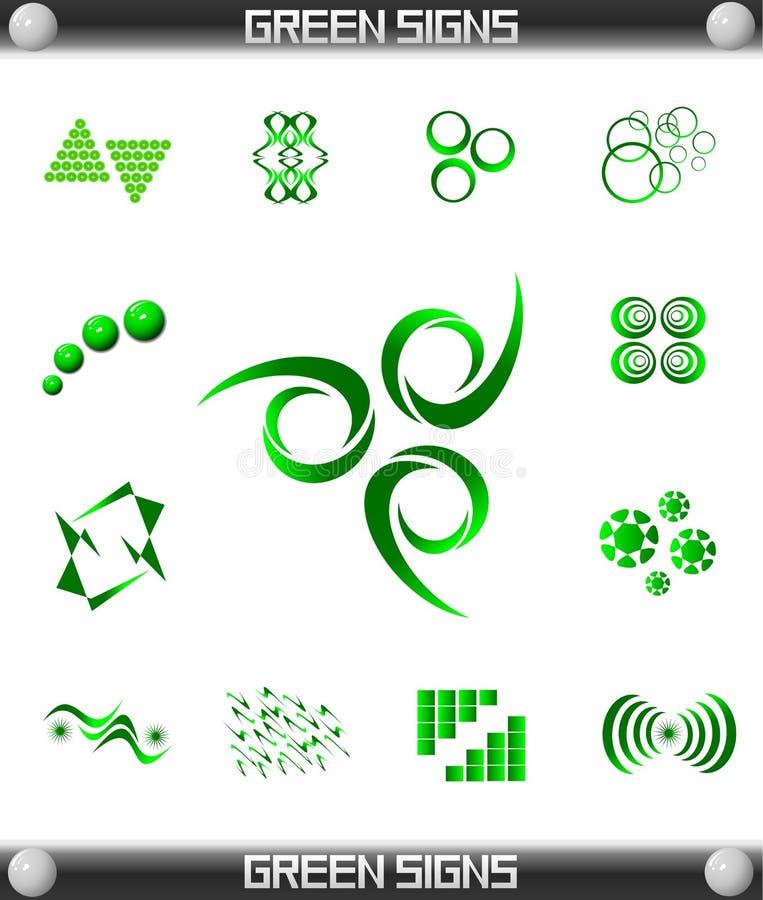 Green Sign Symbol Set stock photos
