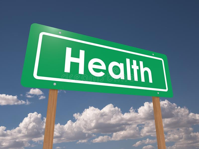 Green sign with text Health. Green sign with bold white text saying ' Health ' and with a background of blue sky and clouds stock image