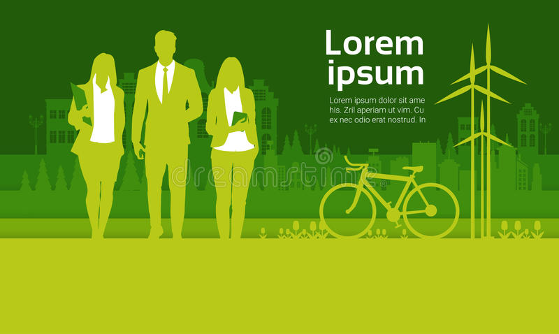 Green Silhouette Businesspeople Group Over City Background Business Man And Woman Team vector illustration