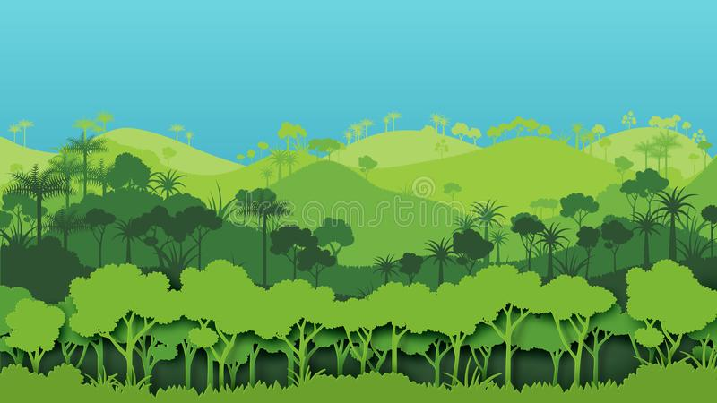 Green silhouette forest landscape background. Nature and environment conservation concept of paper art style.Vector illustration vector illustration