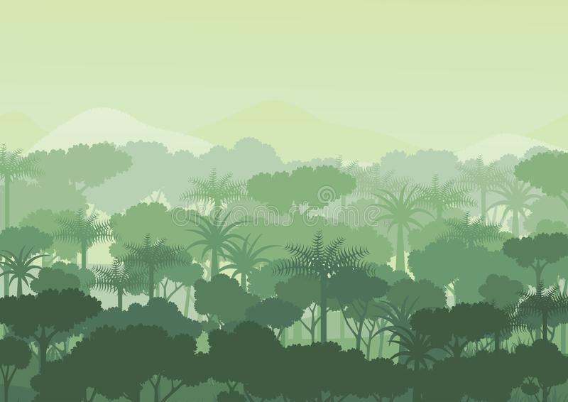 Green silhouette forest and mountains abstract background.Nature and environment conservation concept flat design.Vector illustrat vector illustration
