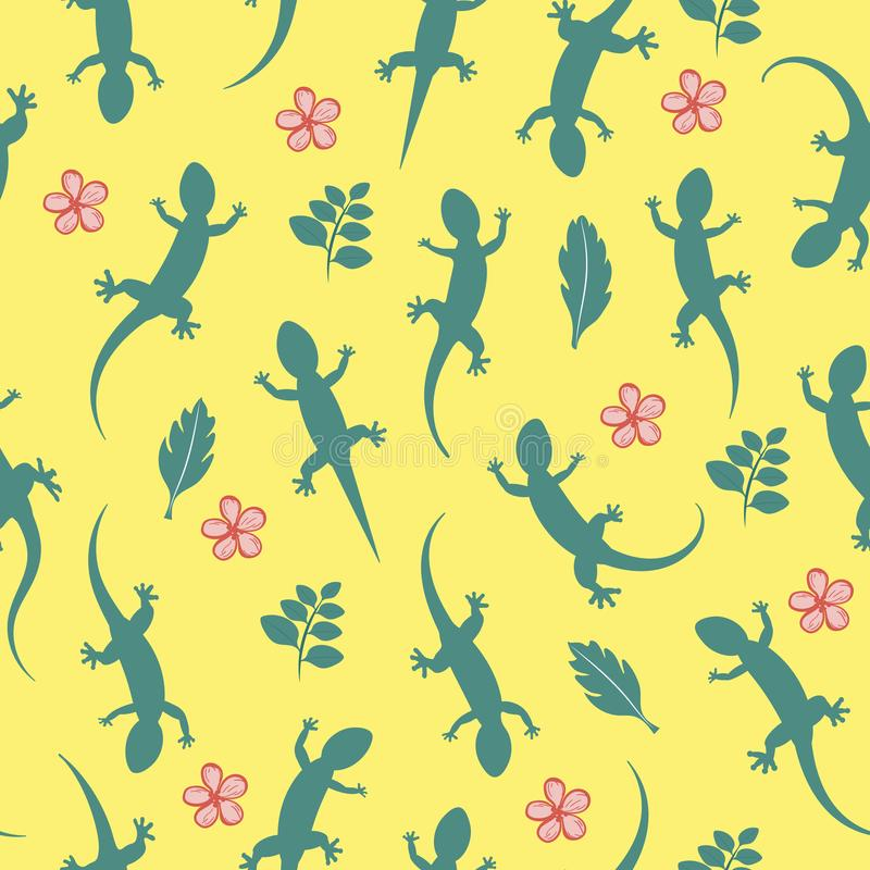 Green silhouette lizard gecko. Seamless pattern background. Vector illustration isolated on yellow background. Green silhouette lizard gecko with flowers vector illustration