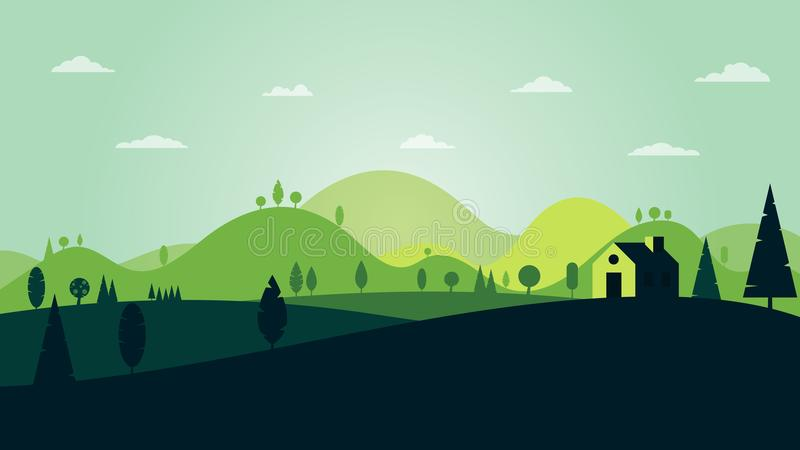 Green silhouette mountains and forest landscape abstract background. Green silhouette forest landscape with house and mountains abstract background.Vector stock illustration