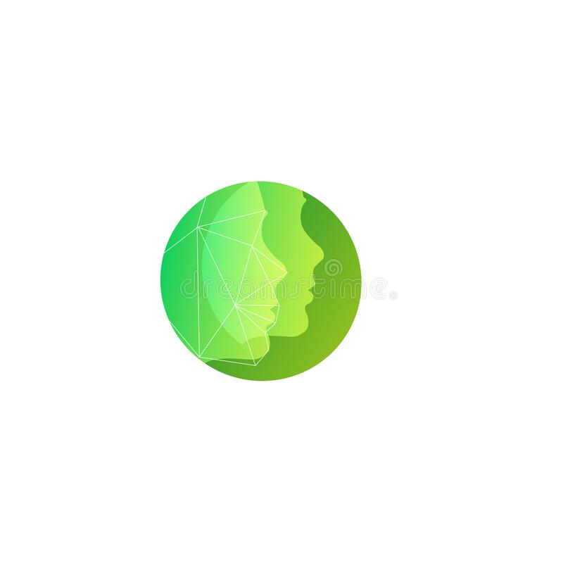 Green silhouette two face vector round logo template for natural cosmetics, beauty salons for facial skin care and. Plastic surgery stock illustration