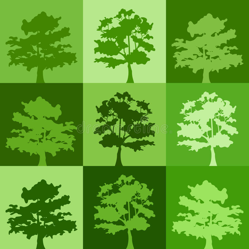 Green silhouettes of trees. Background with green silhouettes of trees stock illustration