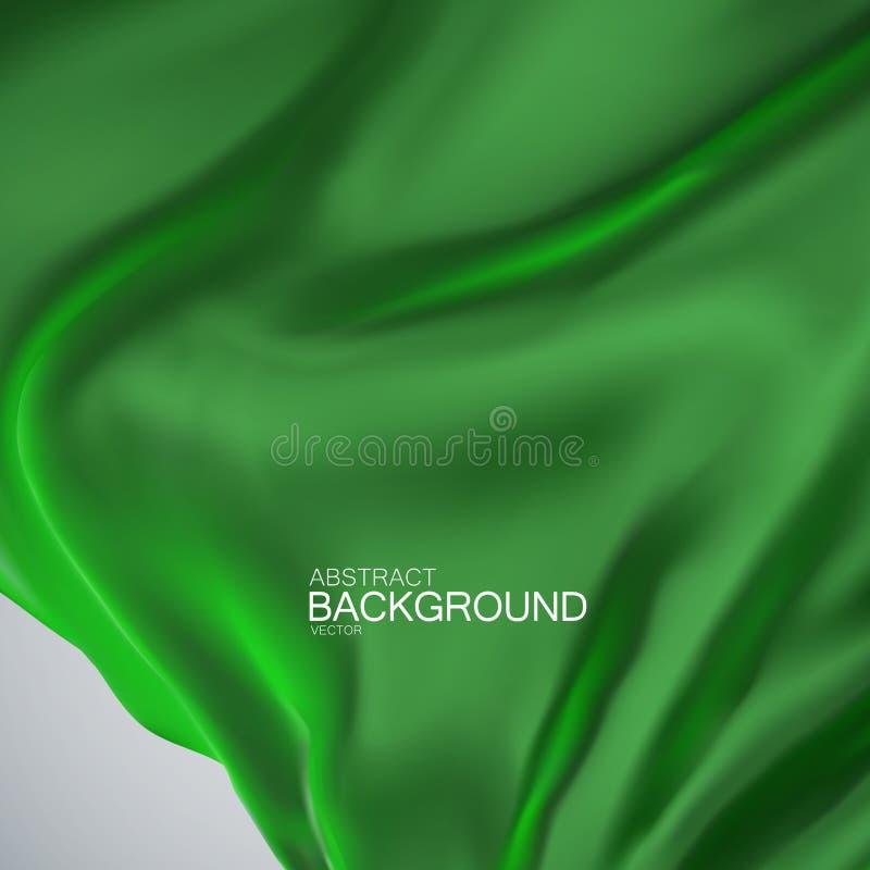 Green silk fabric. stock illustration