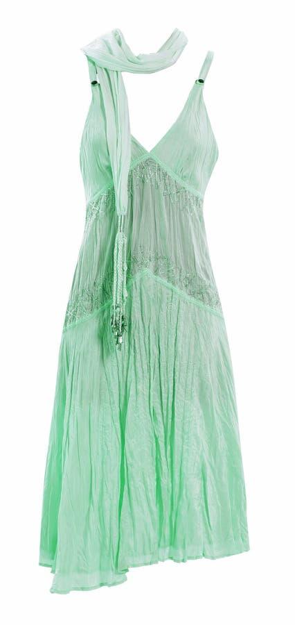 Green silk summer skirt stock photography