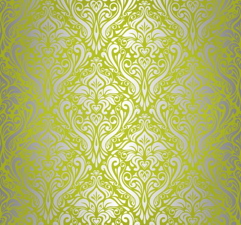 Green & silver vintage wallpaper vector illustration