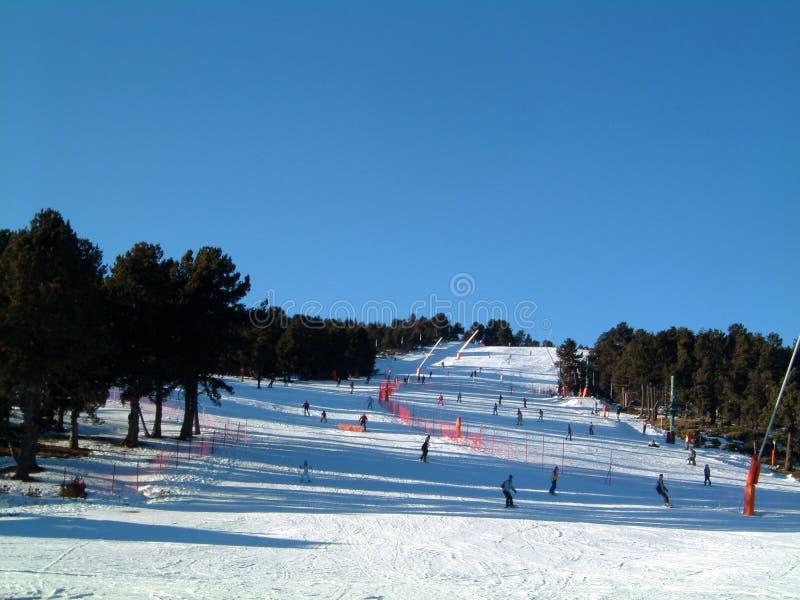Green ski run. Ski run at French Pyrenees resort of Font Romeu, One of the many green runs at this location stock photos