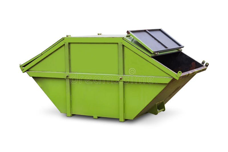 Green skip or dumpster. Green skip (dumpster) for municipal waste or industrial waste, isolated on white background with clipping path royalty free stock images