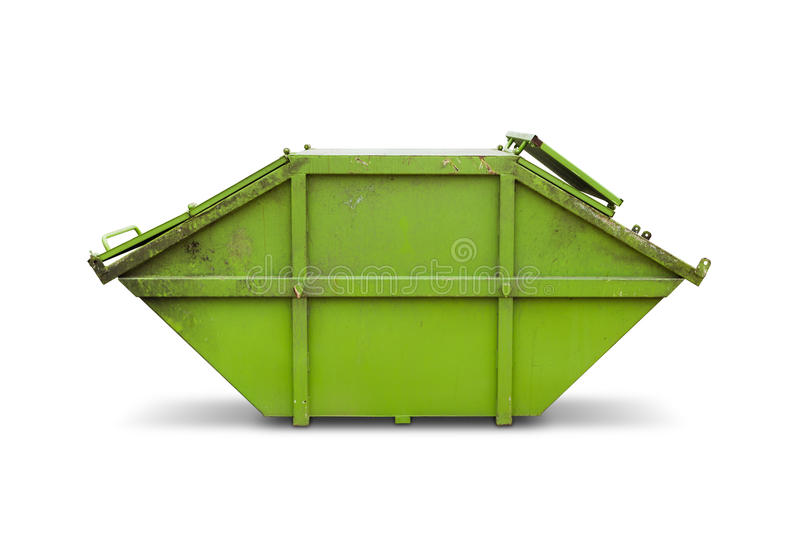 Green skip or dumpster. Green skip (dumpster) for municipal waste or industrial waste, on white background with clipping path royalty free stock photo