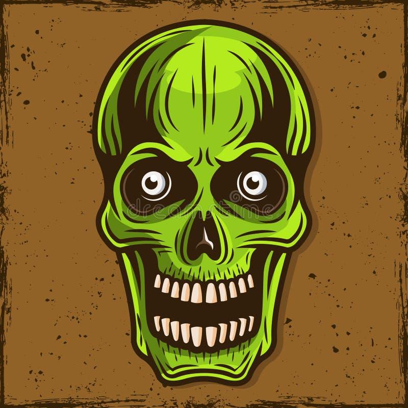Green skull of zombie cartoon illustration vector illustration