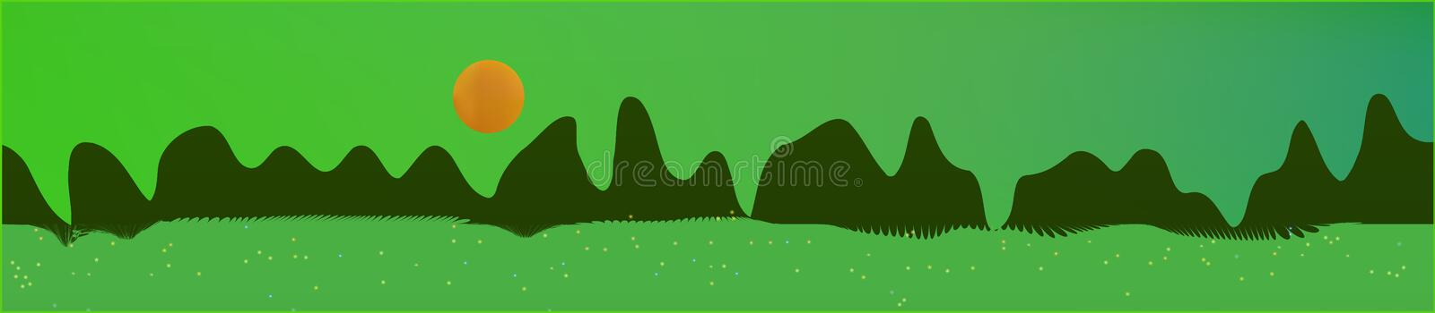 Green sky, and mountains landscape. Plain horizontal background illustration. Trendy fairy tale plain design. Breezy glass print fantasy. Horizon, light. Old vector illustration