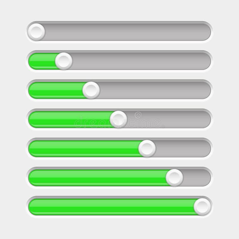 Green slider bar. Settings on control panel vector illustration