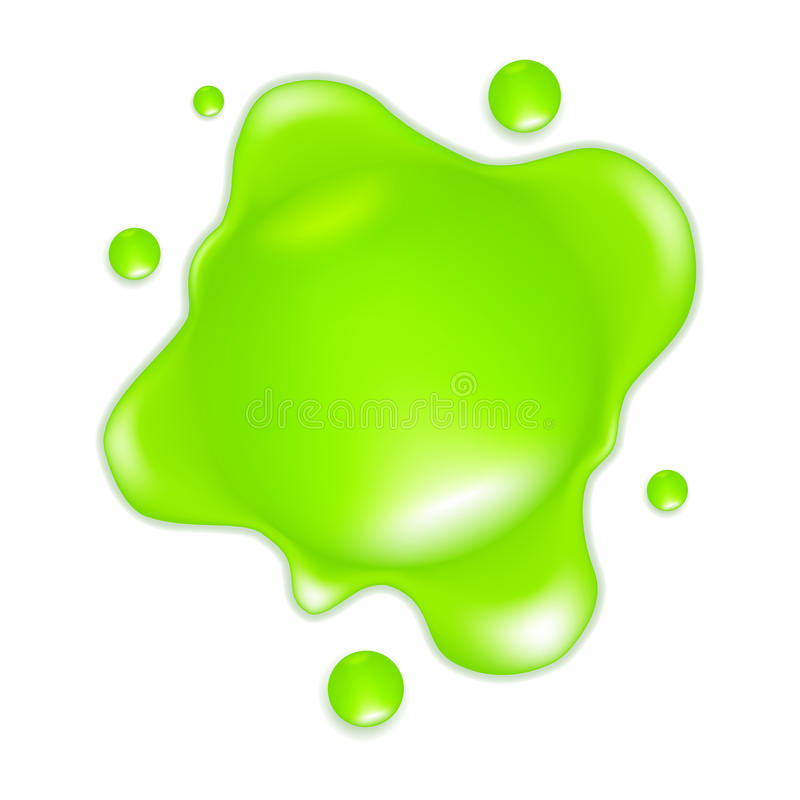 Green Slime. Green drop, isolated on the white vector illustration