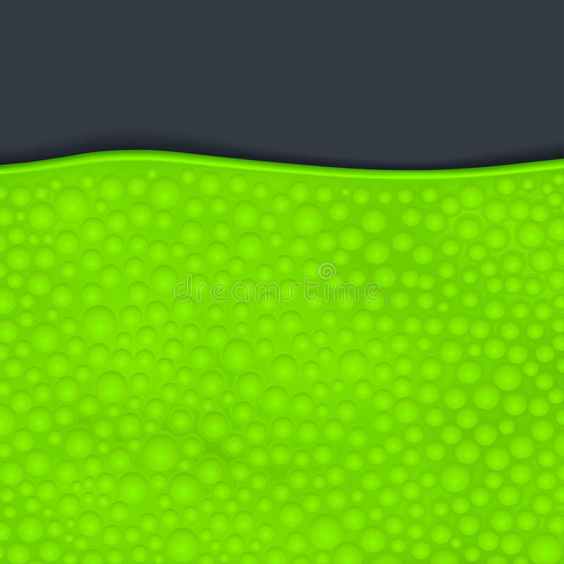 Green slime on dark. Illustration of green color slime with bubbles on dark background royalty free illustration