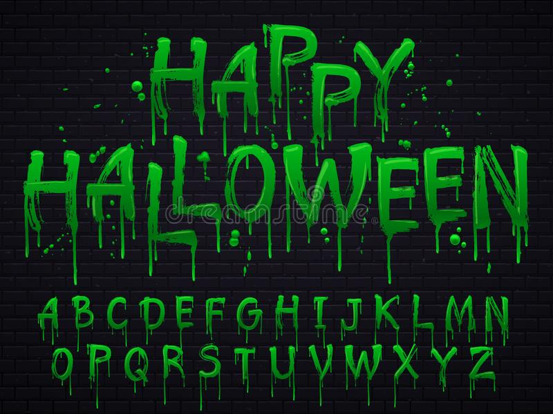 Green slime font. Halloween toxic waste letters, scary horror greens goo sign and splash liquid slimes vector isolated. Green slime font. Halloween toxic waste stock illustration