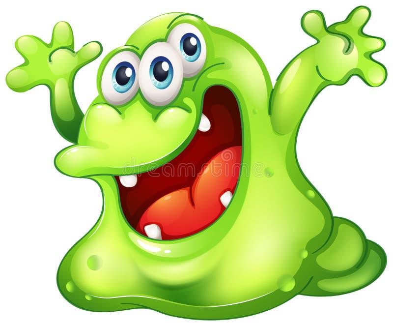 A green slime monster. Illustration of a green slime monster on a white background royalty free illustration