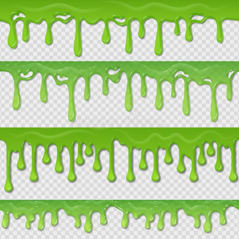 Green slime seamless pattern. Realistic toxic splatter and blob splash elements isolated on white. Vector goo green stock illustration